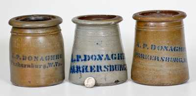 Lot of Three: A. P. DONAGHHO / PARKERSBURG, W. VA Small Stoneware Canning Jars