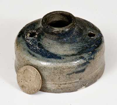 Early Stoneware Spouted Inkwell with Cobalt Decoration