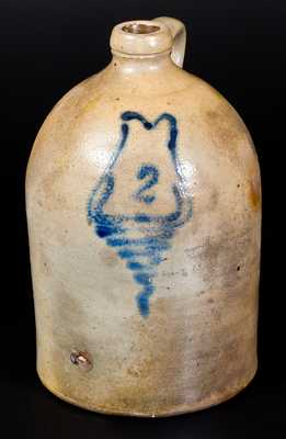 2 Gal. Stoneware Jug with Cobalt Decoration