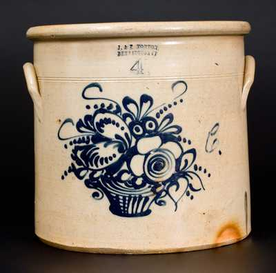 J. & E. NORTON / BENNINGTON, VT Stoneware Crock w/ Fine Basket-of-Flowers Decoration