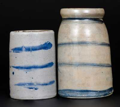 Lot of Two: Western PA Stoneware Canning Jars with Striped Decoration