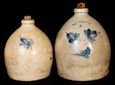 Lot of Two: BROWN & BROS. / HUNTINGTON, L.I. Stoneware Jugs w/ Floral Decoration