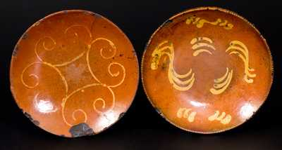 Lot of Two: Slip-Decorated Redware Plates incl. Huntington, Long Island Example