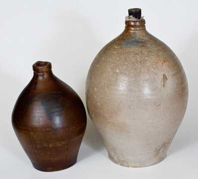 Lot of Two: LEWIS & GARDINER / HUNTINGTON, L.I. Ovoid Stoneware Jugs