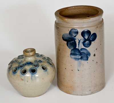 Lot of Two: Baltimore Stoneware Jar and North Carolina Stoneware Flower Frog