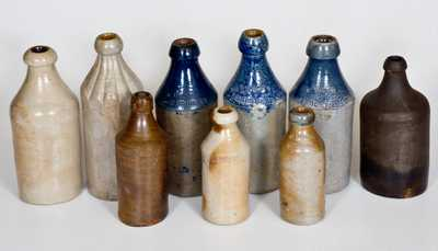 Lot of Nine: Stoneware Bottle Collection