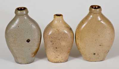 Lot of Three: Small-Sized Stoneware Flasks, early 19th century