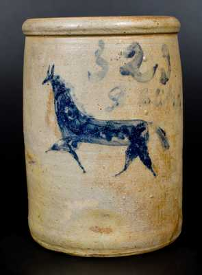 Very Rare Two-Gallon Stoneware Jar with Incised Horse Decoration, Ohio origin, circa 1870