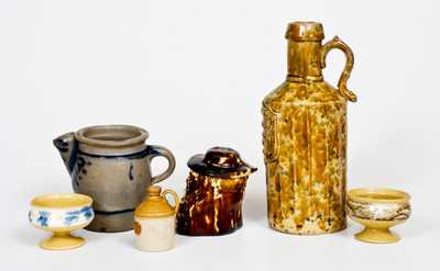 Six Pieces of Utilitarian Pottery, American, English, and German, 19th century