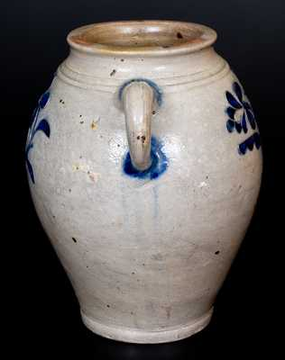 Very Fine 2 Gal. Manhattan Stoneware Jar w/ Incised Decoration, c1790