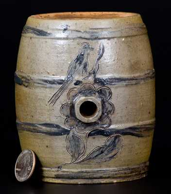Very Fine Small Albany, NY Stoneware Keg w/ Incised Bird and Floral Design
