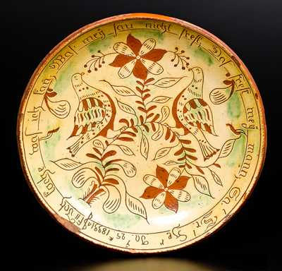 Important Samuel Troxel Sgraffito Redware Plate, Montgomery County, Pennsylvania, 1833
