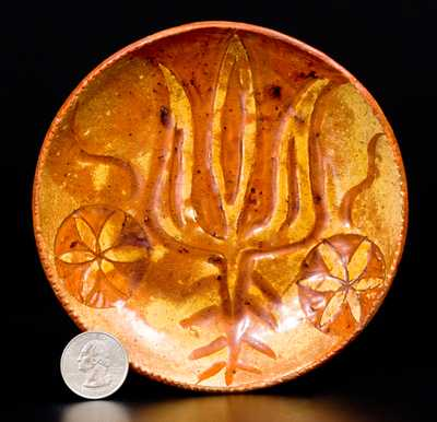 Diminutive Sgraffito Redware Dish, possibly Samuel Paul, Hereford Township, Berks County, PA