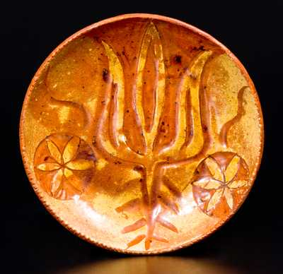 Exceptional Small-Sized Redware Plate with Sgraffito Decoration, c1800
