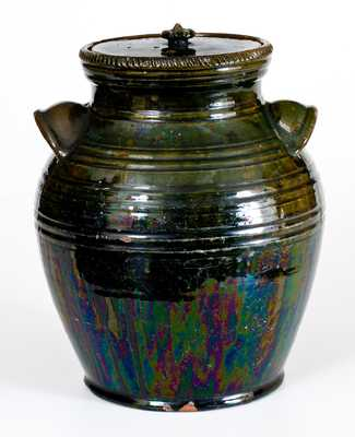 JOSEPH ENTERLINE / 1864 Copper-Glazed Redware Jar, Washington Township, Dauphin County, Pennsylvania