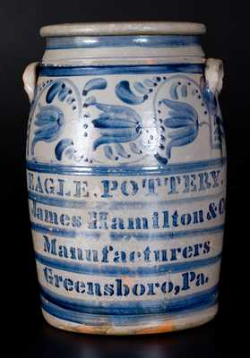 EAGLE POTTERY / James Hamilton & Co. / Manufacturers / Greensboro, Pa. Stoneware Jar