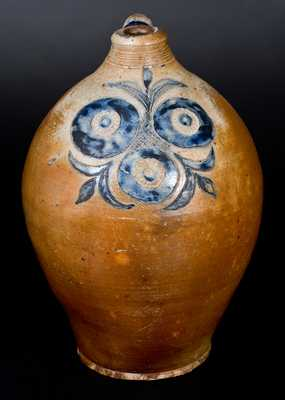 Three-Gallon Stoneware Jug w/ Incised and Impressed Pomegranate Decoration, attrib. Clarkson Crolius, Sr., Manhattan, c1800