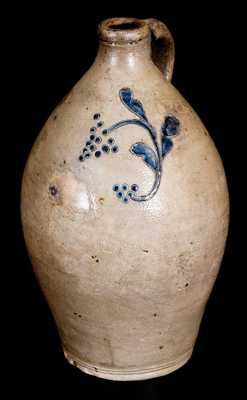 New England Stoneware Jug w/ Incised Decoration and Impressed Grape Clusters