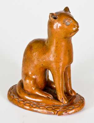 Glazed Redware Figure of a Cat, Pennsylvania origin, circa 1850-1880