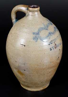 Fine 3 Gal. COMMERAWS / STONEWARE Jug, Thomas Commeraw, New York, c1810