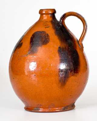 Ovoid Redware Jug w/ Manganese Decoration, Norwalk, CT or Huntington, Long Island