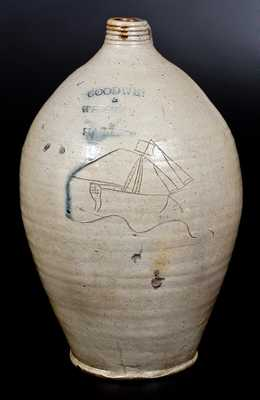 Unusual GOODWIN & WEBSTER / HARTFORD Stoneware Jug w/ Incised Ship Decoration