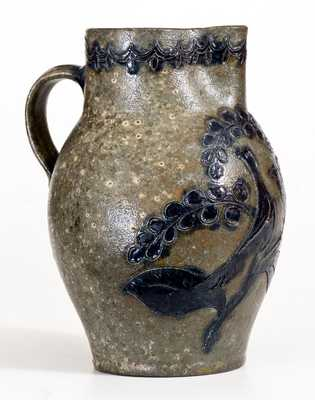 Exceptional Virginia Stoneware Incised Bird Pitcher, probably John Schermerhorn, Richmond, c1815