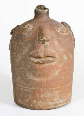 Rare Stoneware Face Jug, attributed to the Brown Family, Atlanta, Georgia, early 20th century