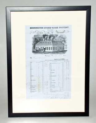 Framed J. & E. Norton, Bennington, VT Stoneware Price List, Dated November 24, 1854