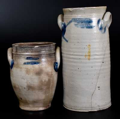Lot of Two: HARTFORD, CT Stoneware incl. P. CROSS Jar and GOODWING & WEBSTER Churn