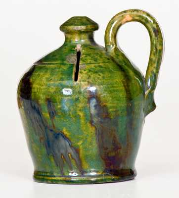 Fine Green Redware Jug Bank with Manganese Glaze