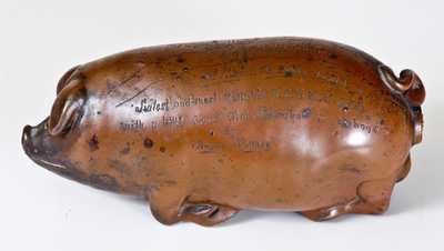 Anna Pottery Pig Bottle, Inscribed