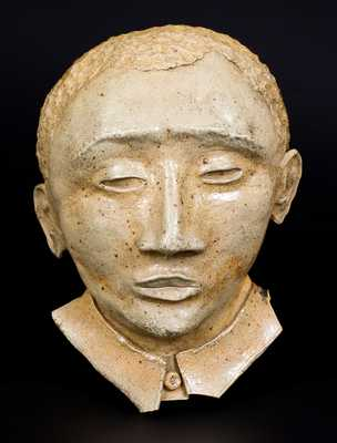 Very Unusual Stoneware Wall Sculpture of African American s Head, circa 1900
