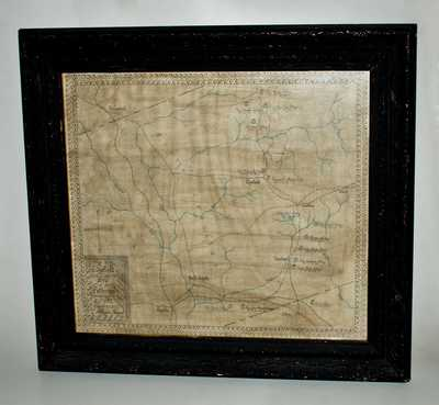 Framed Hand-Drawn Map of
