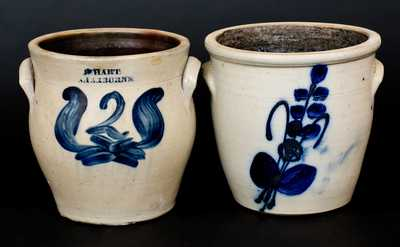 Lot of Two: NY State Stoneware Jars, One J. HART / SHERBURNE