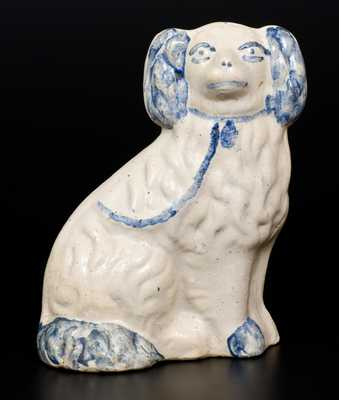 Cobalt-Decorated Stoneware Figure of a Spaniel, Midwestern origin