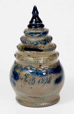 Rare Baltimore Stoneware Bank with Stepped Finial Inscribed,