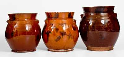 Three Manganese-Decorated Redware Jars, NY or CT