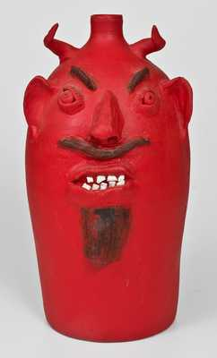 Brown's Pottery / Arden, N.C. Red-Painted Southern Stoneware Devil Face Jug, 1994