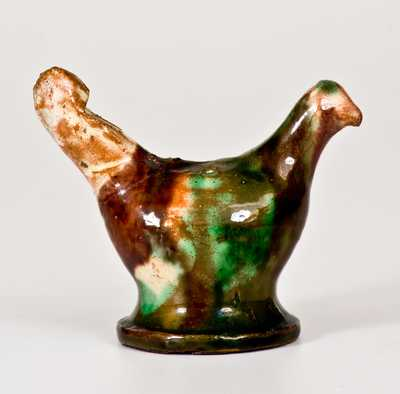 Exceedingly Rare Shenandoah Valley Multi-Glazed Redware Bird Whistle