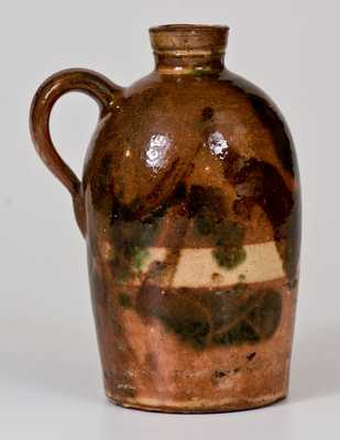 Rare Shenandoah Valley Multi-Glazed Redware Jug