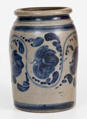 One-Gallon Western PA Stoneware Jar w/ Elaborate Freehand Cobalt Decoration