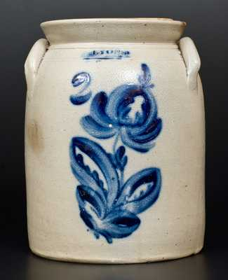 LYONS, NY Two-Gallon Stoneware Jar w/ Cobalt Floral Decoration