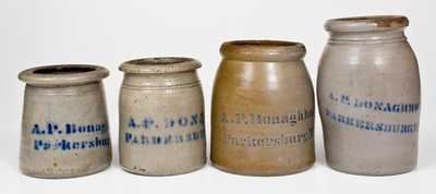 Four Cobalt-Decorated A.P. Donaghho, / Parkersburg, WV Stoneware Canning Jars