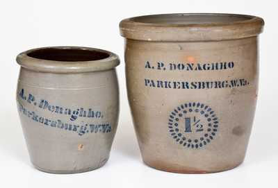Two A.P. DONAGHHO / PARKERSBURG, W.Va. Cobalt-Decorated Stoneware Jars
