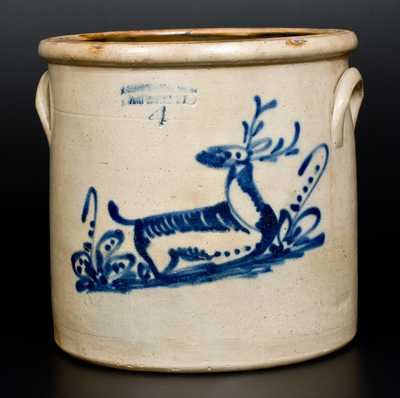 J.A. & C.W. UNDERWOOD / FORT EDWARD, N.Y. Stoneware Deer Crock