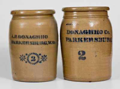 Two Two-Gallon A.P. Donaghho Stoneware Jars, Parkersburg, WV origin