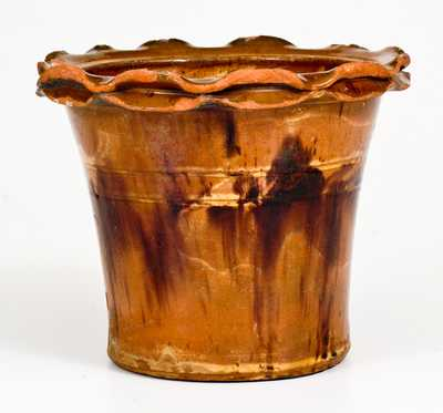 Redware Flowerpot att. Anthony Baecher, Winchester, VA or Thurmont, MD