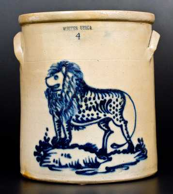 Exceptional WHITES UTICA 4 Gal. Stoneware Crock w/ Bold Lion Decoration