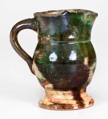 Rare Small Multi-Glazed Redware Cream Pitcher, Strasburg, Virginia